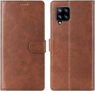 Cresee 兼容三星 Galaxy A42 5G 手机壳,PU 皮革钱包翻盖保护套 [3 个卡槽 1 个钱袋] [磁扣] [支架] 对开式手机壳 - 棕色