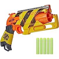NERF 热火 僵尸射击游戏枪——回拉锤爆击动作,5个官方僵尸打击镖,条纹色