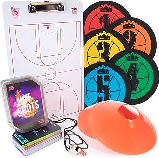 Hot Shots 篮球教练必备套装 - 入门套件包括 64 个钻卡、5 个点标记、教练剪贴板、12 个地面锥体和豌豆哨带挂绳 - 教练运动设备
