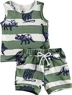 citgeett 幼儿婴儿男孩背心短裤套装 恐龙背心 + 裤子套装 夏季服装