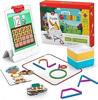 Osmo - Little Genius 入门套件 适用于 iPad + 早期数学冒险 - 6 种手动学习游戏 - 适合 3-5 岁儿童 - 包括计数、形状、拼音和创意 iPad 底座(亚马逊*)