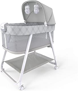 Ingenuity 12569 Lullanight 婴儿床 Gem 带舒缓振动和柔和的声音 4 个轮子和透气的侧面 灰色 9.51 千克