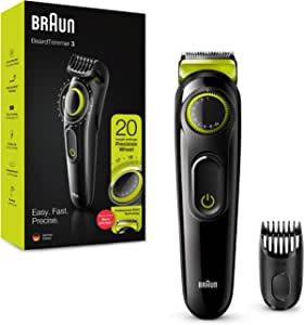 BRAUN 博朗 胡须修剪器 BT3221 男士理发器 终身锋利刀片,20 种长度设置,黑色/电压绿色,英国两针插头
