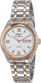 Rotary 男式石英手表米白色表盘模拟显示和双色不锈钢表链 GB90175/06