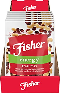 FISHER 零食 Energy Trail Mix,3.5 盎司(99.2 克)(6 件装),干甜蔓越莓,花生,腰果,杏仁