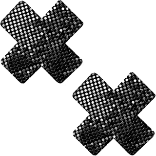 Neva Nude Venom Black Chainmail Metal X-Factor Nipztix Pasties 乳贴适用于节日、狂欢节、派对、内衣等,*级粘合剂,防水防汗,美国制造