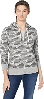 Amazon Essentials Women's French Terry Fleece Full-Zip Hoodie, grey camo, Medium