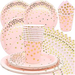 儿童派对餐具套装一次性粉红色波点纸派对餐具,适用于生日、婚礼、迎婴派对。