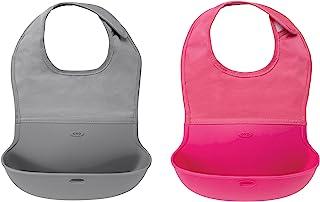 OXO Tot 两件套防水硅胶卷式安抚围嘴 颈部合体面料 灰色/粉色