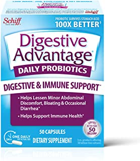 Schiff 旭福 Digestive Advantage 每日益生元胶囊(一盒50粒),比常规500亿个CFU的存活率高100倍,减轻了轻微的腹部不适等问题