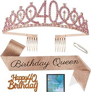 女式 40 岁生日皇冠,40 岁生日腰带和皇冠,40 岁生日蛋糕装饰,送给她的 40 岁生日装饰,*好的朋友生日派对公主皇冠礼物
