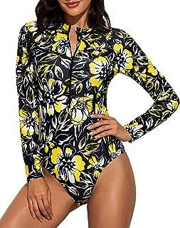 Daci 女式*长袖连体衣带拉链冲浪泳衣 UPF 50
