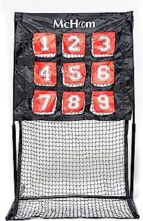 McHom 棒球垒球投球练习网,4.6 x 2.3 英寸(约 11.4 x 6.9 厘米),9 个靶子,无结网,金属框架和玻璃纤维杆,适合儿童和青少年