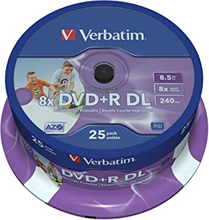 Verbatim 43667 8.5GB 8x DVD+R Double Layer Inkjet Printable 25 Pack Spindle