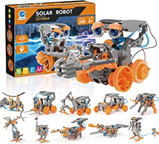Stem Science Kit & Experiment 太阳能机器人玩具 - 11 个教育版,带 288 块积木,适合 8-12 岁儿童,太阳供电,流行积木模型大象、龙、猴子、蝎子