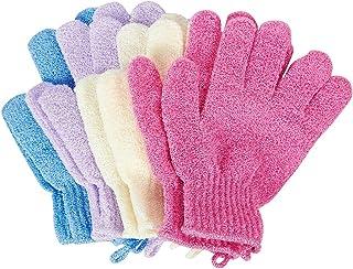 去角质手套 – 4 双装淋浴手套 擦洗手套 适用于水疗、按摩、身体去角质的沐浴手套 – 粉色、紫色、蓝色、米色