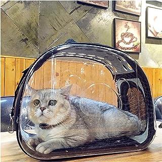3MNSCD 宠物包旅行便携透明小型狗背带宠物小狗背带可折叠猫背袋透气航空公司认证(L(16.5''10.23''13.77''),黑色)