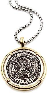 LESLIE BOULES 复古圣迈克尔·阿森儿勋章项链男式 55.88 厘米长保护珠宝