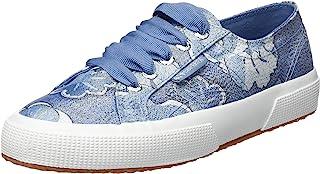 Superga 女式 2750-FABRICLAMEFLOWERW 运动鞋,Blu (Blue/White A25), 4.5