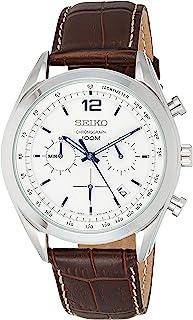 Seiko 计时码表白色表盘不锈钢棕色皮男式手表 SSB095