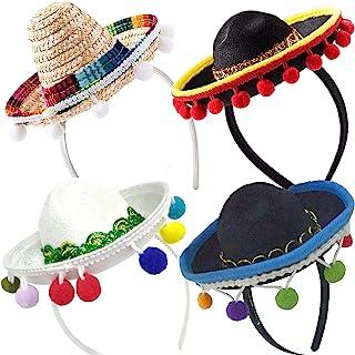 4 件套 Cinco De Mayo Sombrero 头带帽 - 迷你墨西哥宽边帽 嘉年华狂欢节节日装饰 生日可可可主题和派对用品 - 宽边帽白色/黑色