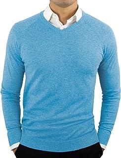 CC 完美修身 V 领男式毛衣   轻质透气男士毛衣   男式柔软修身 V 领套头衫 Ethereal 蓝色 Medium