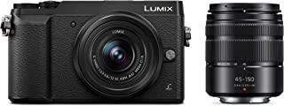 Panasonic 松下电器 无镜像可互换镜头相机套件,12-32 毫米镜头,16 万像素,双图像稳定-2DMC-GX85WK 摄像头 + 12-32mm + 45-150mm 黑色