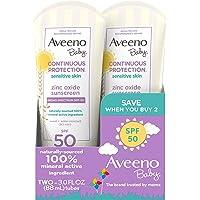 Aveeno 艾惟诺 婴儿 Continuous Protection 氧化锌矿物防晒乳液,广谱SPF 50,3液体盎司…