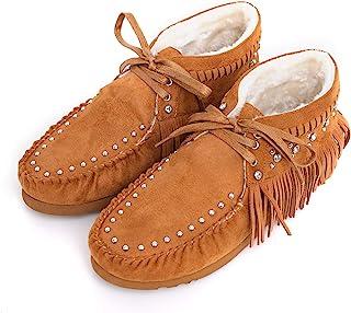 Montana WestFringe 女士真发牛皮及踝靴