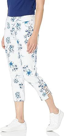 SLIM-SATION 女式套穿印花露脐裤,口袋和梯子下摆