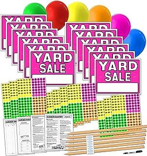 Yard Sale 标牌套件,含价格贴纸和木质标牌桩 1-neon Pink - Yard