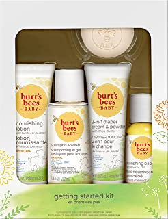 Burt's Bees Baby Getting Started礼盒套装,5个试用装婴儿护肤品 - 乳液,洗发沐浴露,日霜,婴儿油和肥皂