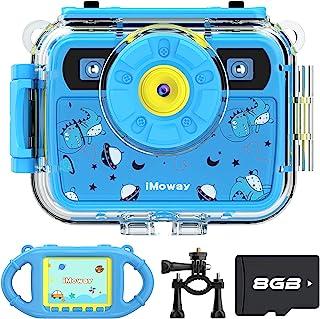 iMoway 儿童摄像机 防水相机 适合 3 岁以上儿童的圣诞节生日礼物 带硅胶手柄和自行车支架 便携式户外玩具 适合 3-12 岁女孩男孩(浅蓝色)