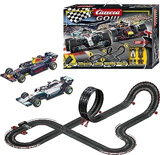 Carrera GO!!! Max Speed 赛车轨道套装   6.3 米电动赛道,带梅赛德斯-AMG F1 W09 EQ Power+ & Red Bull Racing RB14 带2个手动调节器和轨道部件   适合6岁以上儿童和成人