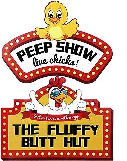 Jetec 2 件鸡舍标志趣味装饰鱼嘴表演现场小鸡标志蓬松臀部小屋板标志鸡屋墙饰适用于公鸡收容所农场户外装饰