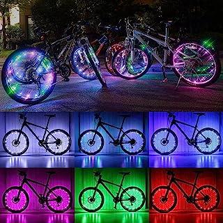 自行车轮灯、防水 LED 自行车轮灯(7 色闪烁,18 种模式可改变)照明自行车配件,适合成人和儿童在夜间*骑行(2 件)
