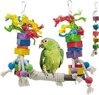 BIKOM 2 件鸟秋千玩具鹦鹉笼咬合玩具木制积木鸟笼吊床秋千玩具悬挂玩具适用于鹦鹉或中鹦鹉和鸟类,如亚马逊、非洲灰色和鹦鹉。