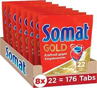 Somat 12 Gold 活性多效洗碗机用洗涤块 强力对抗焦化物/光泽餐具,年度装/176 (8 x 22)块