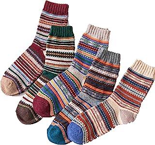 Campsis 北欧保暖羊毛袜冬季厚针织水手袜多色柔软舒适棉袜男女圣诞节礼物(5 件装)
