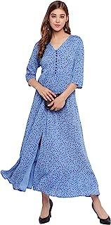 Janasya 印度女式蓝色人造丝绉纱民族连衣裙