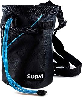 Sukoa 攀岩粉笔袋 - 大石粉笔袋带快速夹腰带和 2 个大拉链口袋 - 攀岩装备设备
