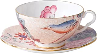 Wedgwood 5C106805130 茶物语杜鹃鸟 杯碟套装,优质骨瓷,桃子色,0.18升