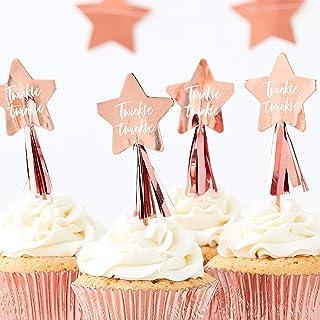 Ginger Ray 玫瑰金星形派对纸杯蛋糕装饰 - 12 件装 - 闪光