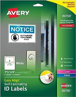 "Avery 专业级自动层压防水 ID 标签 5 Labels 5"" x 7-1/2"""