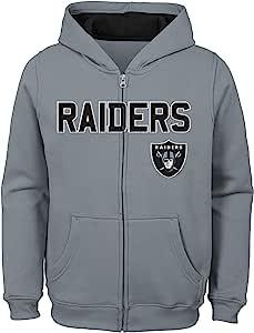 NFL 奥克兰突袭者队儿童和青年男孩款全拉链羊毛连帽衫,珍珠蓝,青少年 XL 码(18 码)