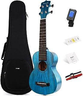 Soprano Ukulele Enya 21 英寸(约 53.3 厘米)蓝色实心桃花心木顶部尤克里里琴初学者套件,带在线课程,盒子,调谐器,表带,弦,拨片(EUS-25D BU)