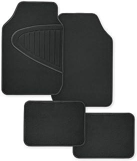 ECO-Deluxe 再生通用黑色地毯垫 4 件套带压花保护地毯司机侧脚跟垫