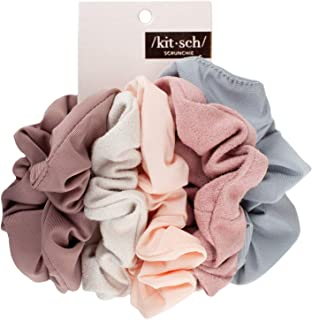 Kitsch Matte Scrunchies 适用于*,女士发丝,松发带,5 件装(腮红/紫红色)