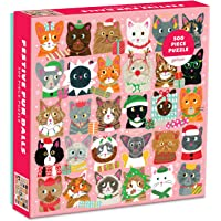 Galison 节日毛绒球拼图,500 片 – 猫咪拼图以 Liza Lewis 的节日插图为特色 – 厚实、坚固的拼块…