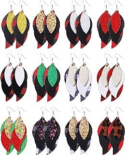 12 对 3 层圣诞节轻量仿皮叶子耳环闪光红色格子吊坠耳环套装为女孩女士设计